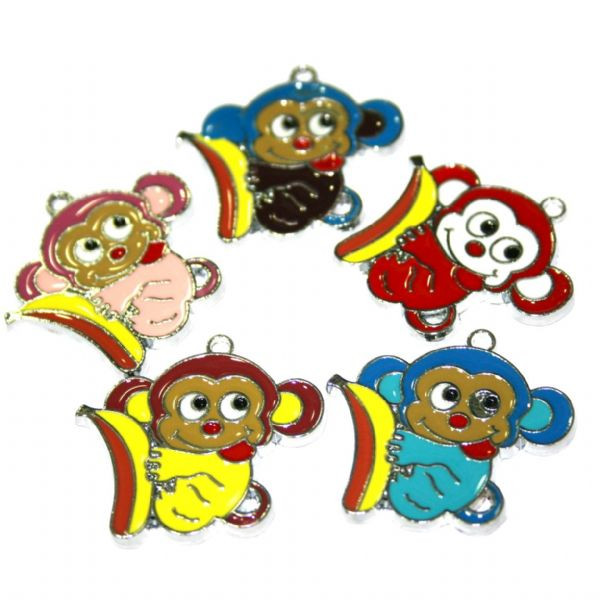 Monkey enamel charms